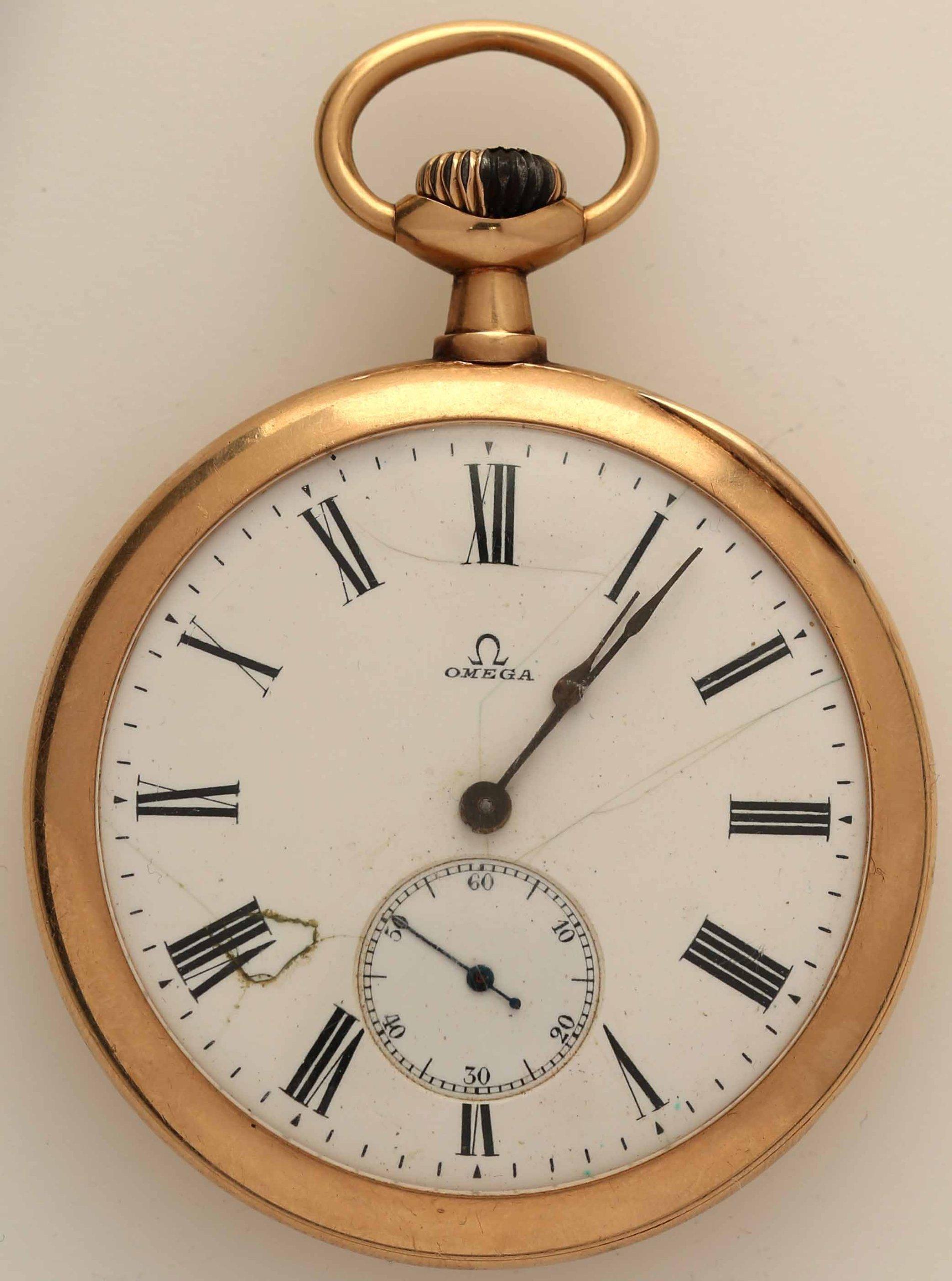 Szwajcaria Zegarek Omega Kieszonkowy Zloto