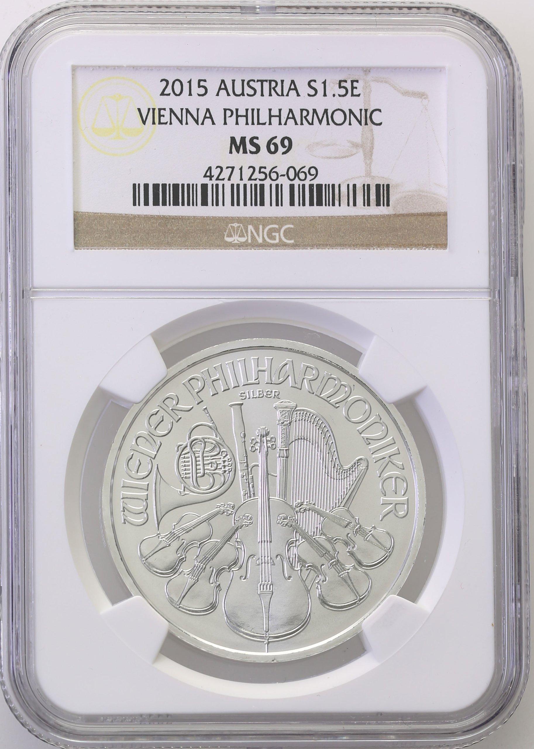 Austria 1,50 Euro 2015 Filharmonicy NGC MS69